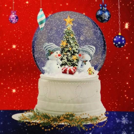 Jersey Cotton Fabric Digital Print - Christmas Ball Panel