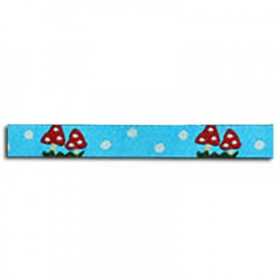 Childrens Ribbon - Mushrooms Aqua 12mm