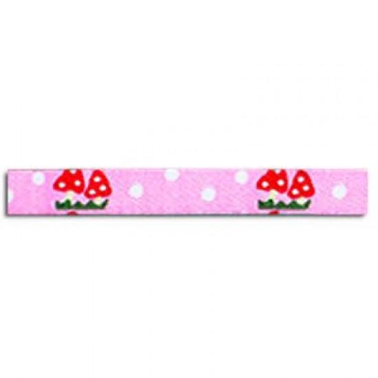 Childrens Ribbon - Mushrooms Pink 12mm