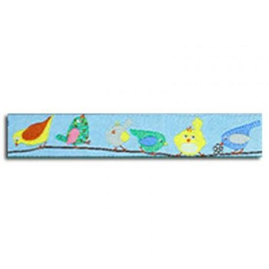 Childrens Ribbon - Bird on a Branch Blue 15mm