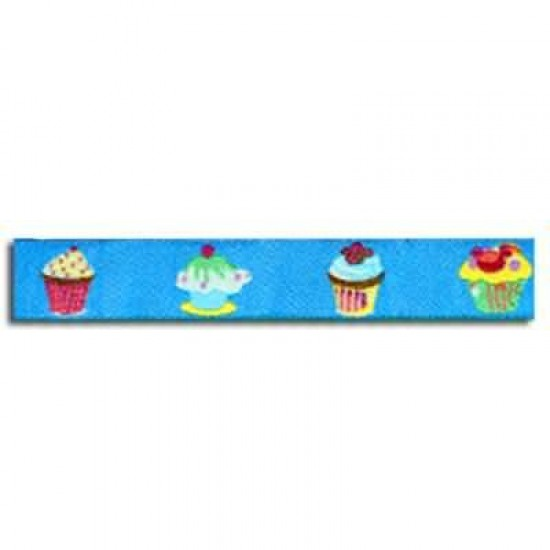 Childrens Ribbon - Cupcake Cobalt 15mm