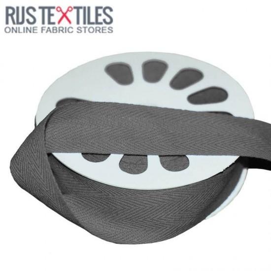 Cotton Twill Ribbon Dark Grey 25mm