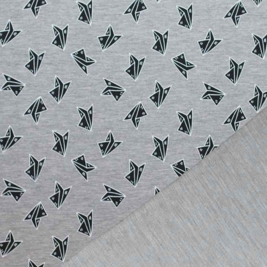 Mi & Joe Fabrics Sweat - Origami Airplane Grey Melange