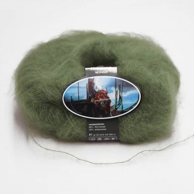 Mohair Yarn ISPE Needle Size 3,5 - 4 Army Green
