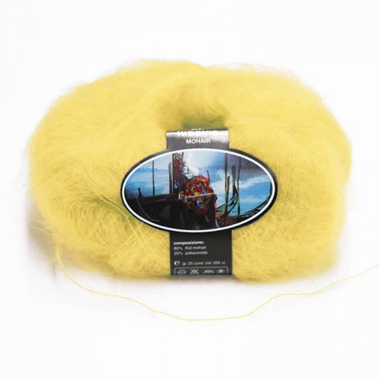 Mohair Yarn ISPE Needle Size 3,5 - 4 Light Yellow