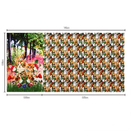 Jersey Cotton Fabric Digital Print - Cat Panel
