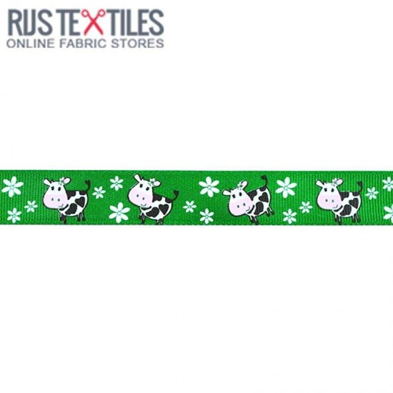 Grosgrain Ribbon - Cow Grass Green 20mm