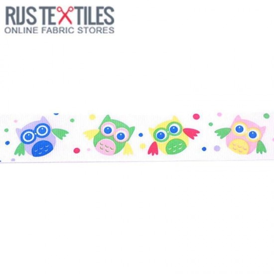 Grosgrain Ribbon - Owl White 25mm