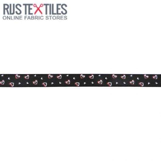 Grosgrain Ribbon - Hearts Black 15mm