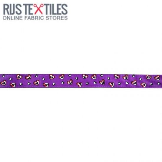 Ruban Gros Grain - Cœurs Violet 15mm
