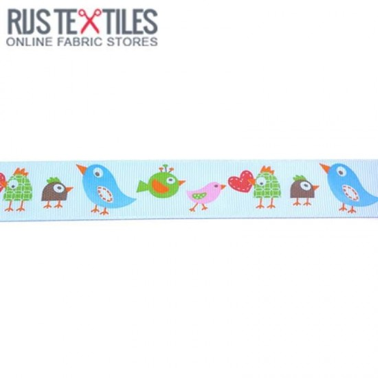 Grosgrain Ribbon - Birds Light Blue 25mm