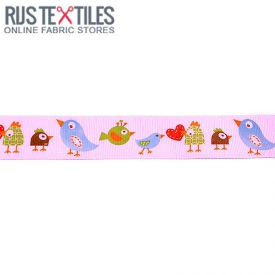 Grosgrain Ribbon - Birds Pink 25mm
