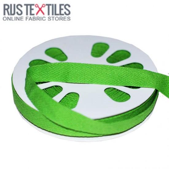 Cotton Twill Ribbon Green 15mm
