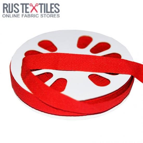 Cotton Twill Ribbon Red 15mm