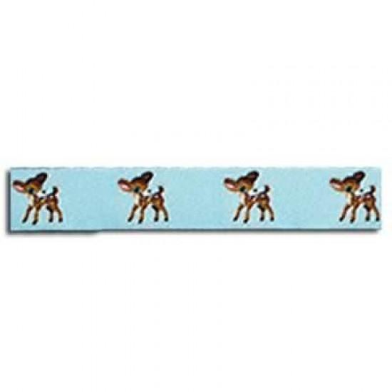 Childrens Ribbon - Deer Light Blue 15mm