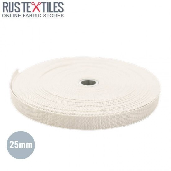 Polypropylene Webbing Off White 25mm (Per Meter)