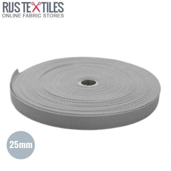 Polypropylene Webbing Light Grey 25mm (Per Meter)