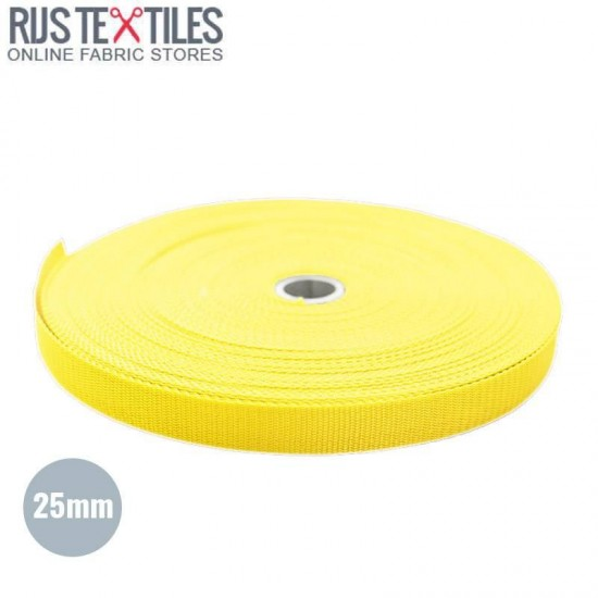 Polypropylene Webbing Yellow 25mm (Per Meter)