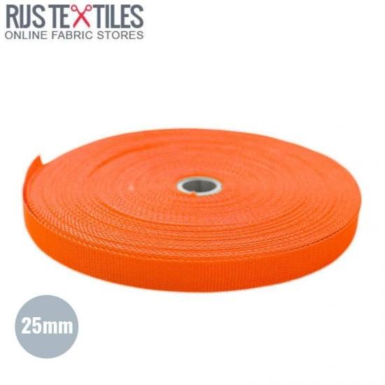 Polypropylene Webbing Orange 25mm (Per Meter)