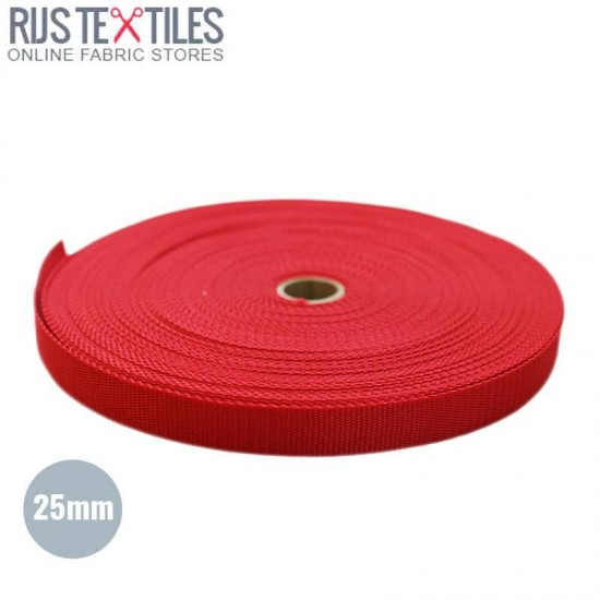 Polypropylene Webbing Red 25mm (Per Meter)