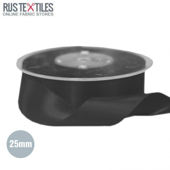 Satin Ribbon 25mm Black