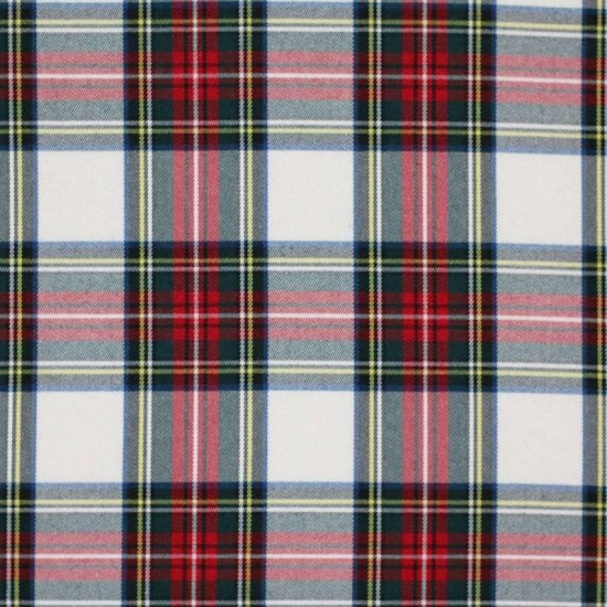 Scottish Tartan Fabric White Stuwart