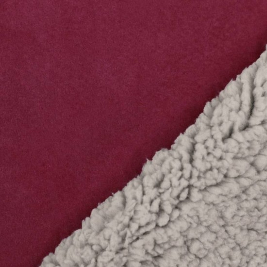 Sherpa Faux Fur Lamb Fabric Bordeaux