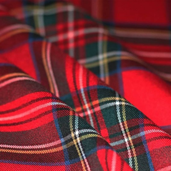 Scottish Tartan Fabric Stretch Red Stuwart