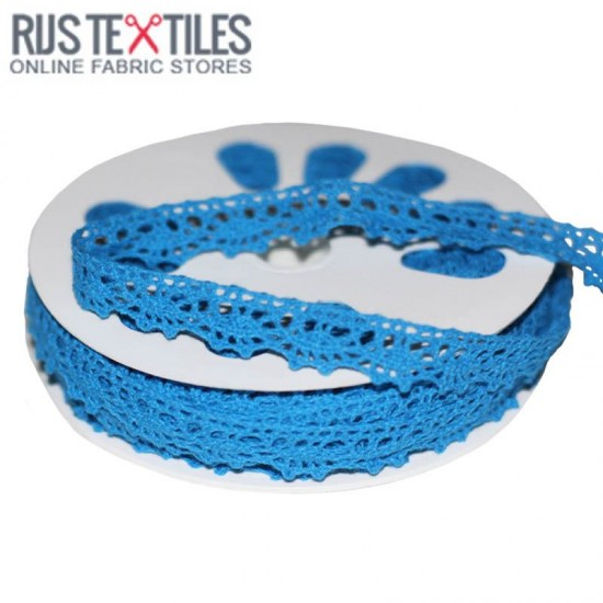 Crochet Lace Trim Aqua 15mm