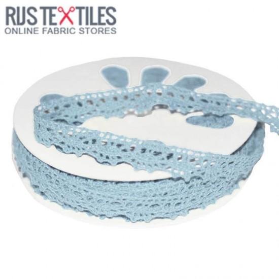 Crochet Lace Trim Light Blue 15mm
