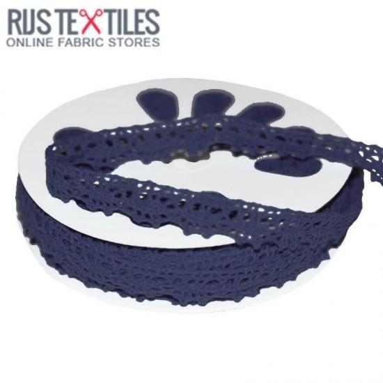 Crochet Lace Trim Navy 15mm