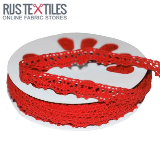 Crochet Lace Trim Red 15mm