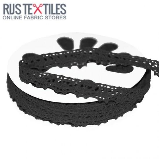 Crochet Lace Trim Black 15mm