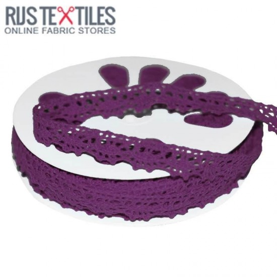 Crochet Lace Trim Purple 15mm