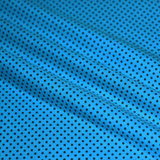 Polka Dot Fabric Aqua / Brown 2mm