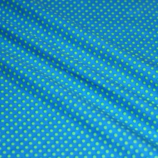Polka Dot Fabric Aqua / Lime 2mm