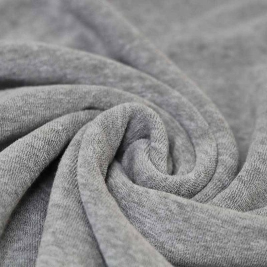 Stretch Toweling Fabric Light Grey Melange