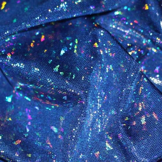 Hologram Fabric Leaf Cobalt