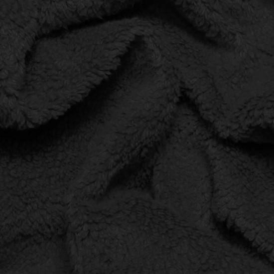 Curly Teddy Fabric Black