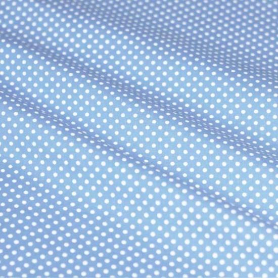 Polka Dot Fabric Light Blue / White 2mm