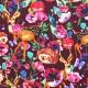 Jersey Cotton Fabric Digital Print - Deer And Hedgehog Bordeaux