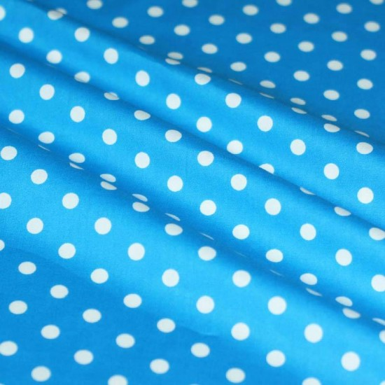 Polka Dot Fabric Aqua / White 7mm