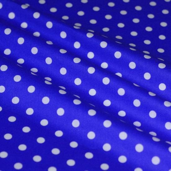 Polka Dot Fabric Cobalt / White 7mm