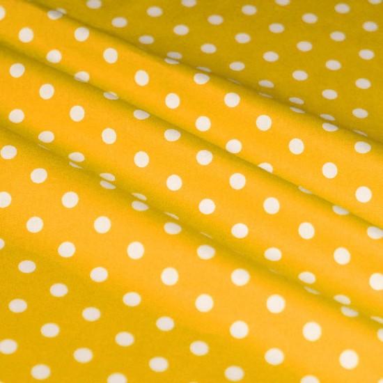 Polka Dot Fabric Yellow / White 7mm