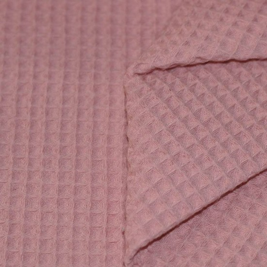 Waffle Pique Fabric Old Pink