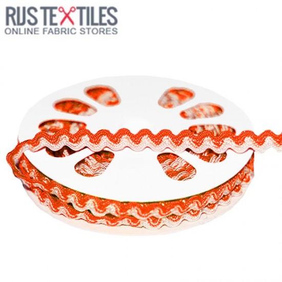 Rick Rack Ribbon Orange White 8mm