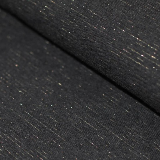 1ec4762dd1a French Terry Fabric - Dark Grey Melange With Lurex Glitter Gold