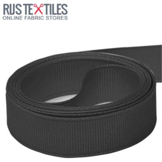 Grosgrain Ribbon Black 25mm