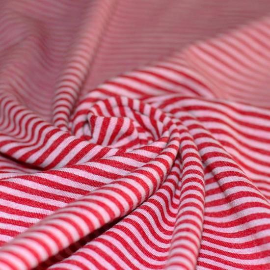 Tessuto Jersey a Righe 3mm Rosa Melange / Rosso Melange