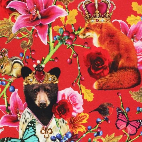 Jersey Cotton Fabric Digital Print - Royal Animals Red